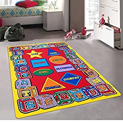 Kids / Baby Room / Daycare / Classroom / Playroom Area Rug. ABC Shapes. Blocks. Alphabet. Educational. Fun. Non-Slip Gel Back. Bright Colorful Vibrant Colors