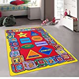 Kids / Baby Room / Daycare / Classroom / Playroom Area Rug. ABC Shapes. Blocks. Alphabet. Educational. Fun. Non-Slip Gel Back. Bright Colorful Vibrant Colors (8 Feet X 10 Feet)