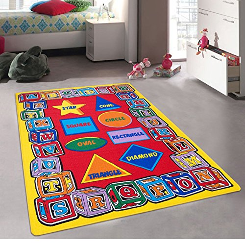 iSavings Kids/Baby Room/Daycare/Classroom/Playroom Area Rug. ABC Shapes. Blocks. Alphabet. Educational. Fun. Non-Slip Gel Back. Bright Colorful Vibrant Colors (3 Feet X 5 Feet)