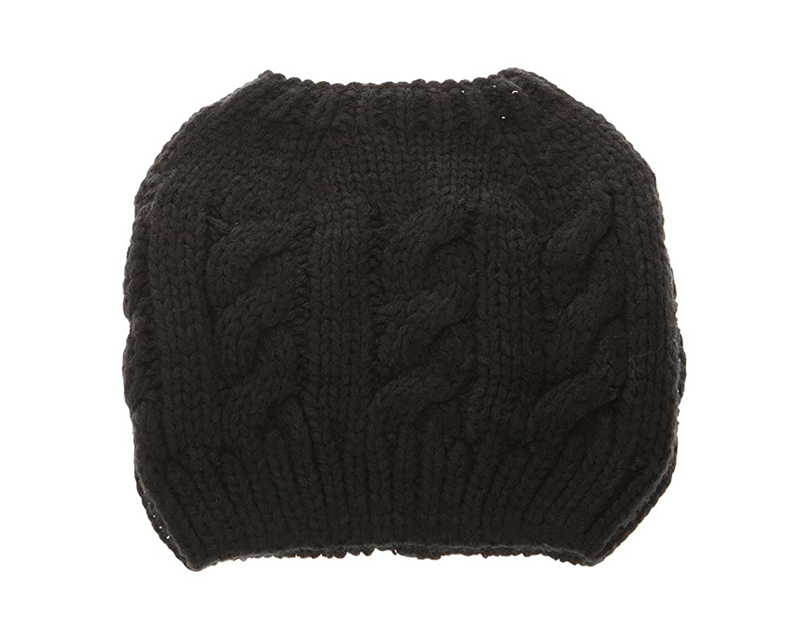 cf798f06 Women Crochet Ponytail Messy High Bun Beanie Winter Hat, Slouchy Cable Knit  Twist (Beige) at Amazon Women's Clothing store: