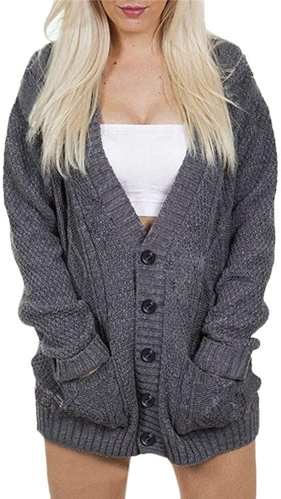 Womens Knit Cardigan Fashion Solid Pullover Long Sleeve Shirt Loose Sweater Casual Button V-Neck Blouse Coat