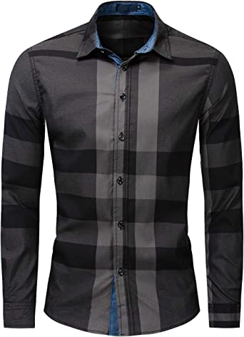 Camisas de Hombre Camisa a Cuadros Camisas de Vestir Camisa Casual Slim Fit Manga Larga para Hombres de Algodón M-3XL