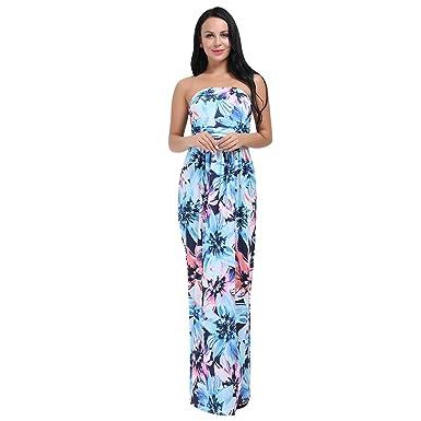 Huhhrry Women S Strapless Dress Floral Print Sleeveless Empire Waist
