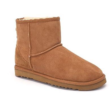 Sheep Touch Women s Classic Mini Twin-Face Sheepskin Boots Chestnut Size 6 0c9df38eb