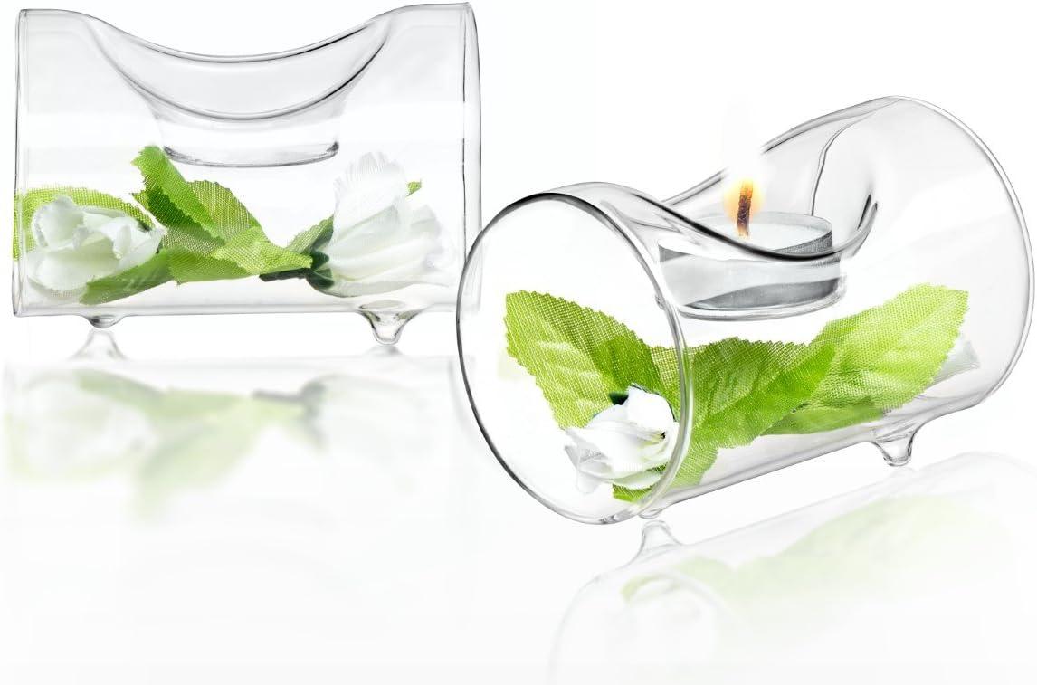 JoyJolt Set of 2 Single Clear Glass TeaLight Candle Holders Centerpiece TeaLight Holder