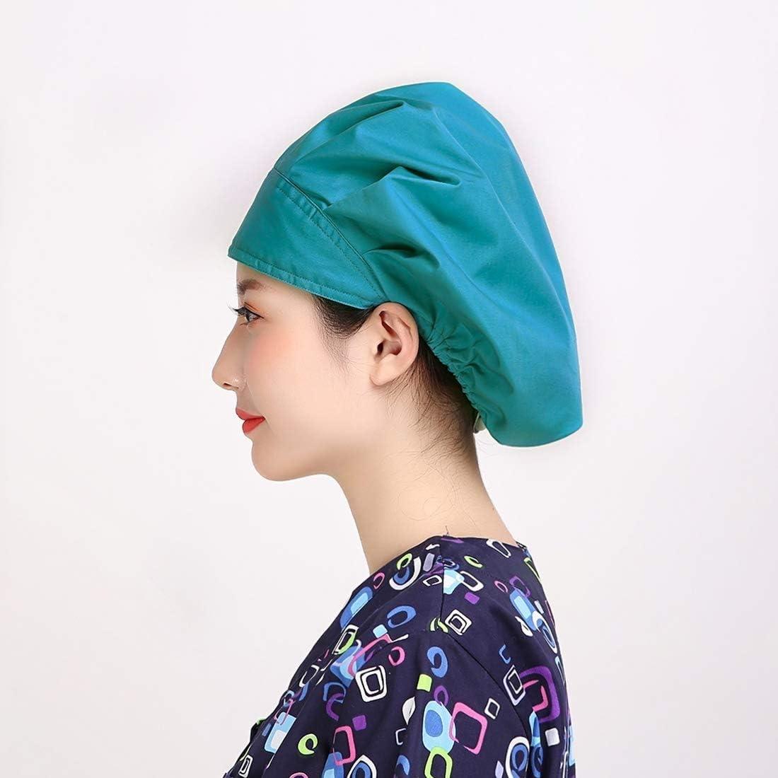 SurgicalCH 4pc Womens Adjustable Scrub Cap Sweatband Bouffant Hats Value Set
