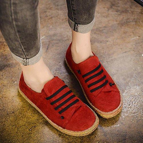 Mujeres Tobillo Suave Femenina Gamuza Zapatos Plano Chancletas Señoras De Tacones Para Las Manadlian Calzado Rojo Con Cuero Botas ❤️ Cordones Individuales 8n7OxXqYww