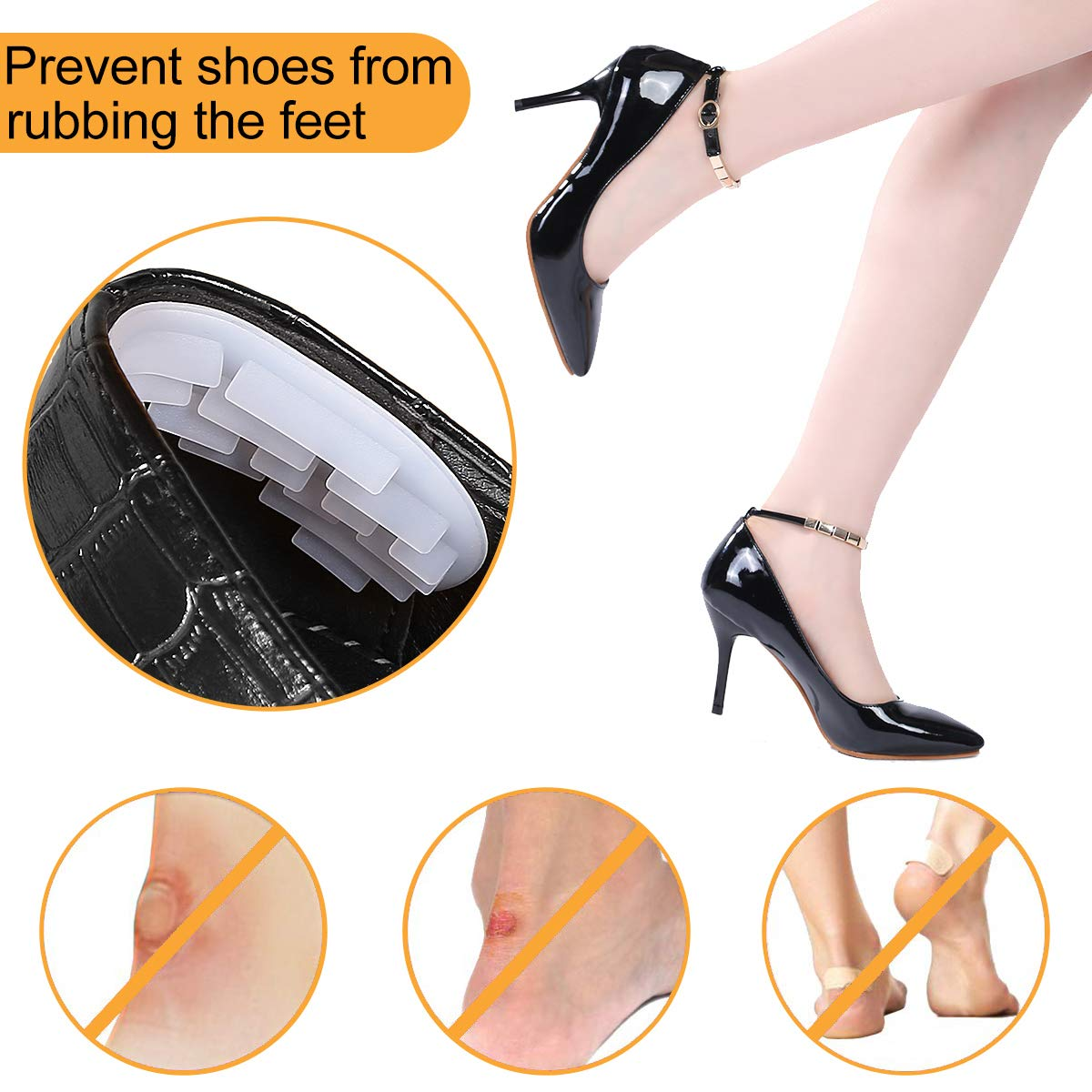 Heel Cushions Inserts Heel Grips Liner 4D Self-Adhesive Heel Pads for Loose Shoes, Improved Shoe Fit and Comfort (2 Pairs)
