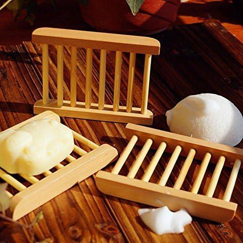 DaoRier portasapone Rettangolare in Legno di bamb/ù Naturale Ecologico portasapone per Bagno e lavandini 1 Pezzo
