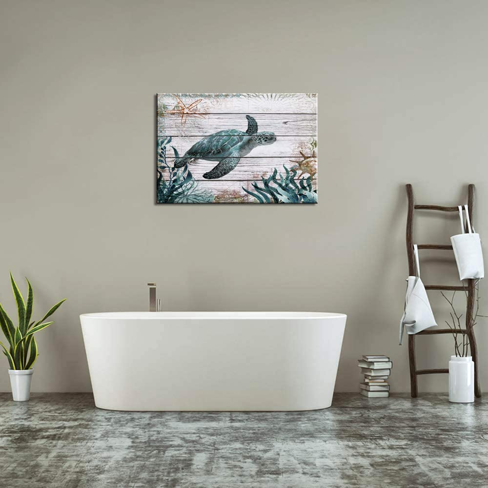 Bathroom Wall Decor Ocean Sea Wall Art Green Turtle Pictures Artwork Painting Ocean Decor Canvas Prints Nautical Bathroom Art Pictures Canvas Wall Art Decor Canvas Framed Prints Bedroom Ready to Hang