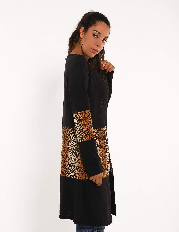 Blooming Jelly Womens Lightweight Open Front Cardigan Knit Long Sweater Leopard Pockets Knitwear (Medium, Black)