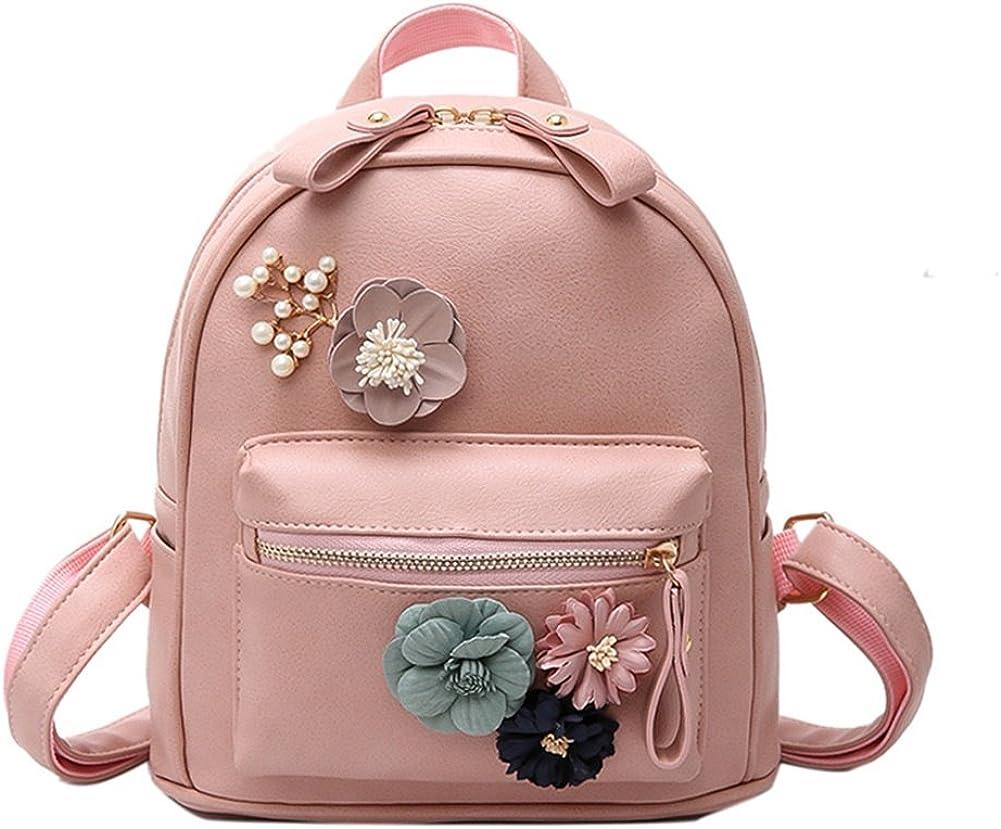 Bcony Pink Mini PU Leather Women Backpack Purse Boho Flower Handmade Shoulder Bag Casual satchel Leisure Daypack for Teen Girls