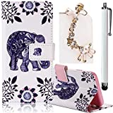 Huawei Ascend G7 Plus/ G8 Case, Boince 3 in 1 Accessory Book Style Magnetic Snap PU Leather Flip Wallet Case + [Diamond Antidust Plug] + [Metal Stylus Pen] Anti Scratch Shockproof Full Body Skin Cover Protective Bumper-Elephant