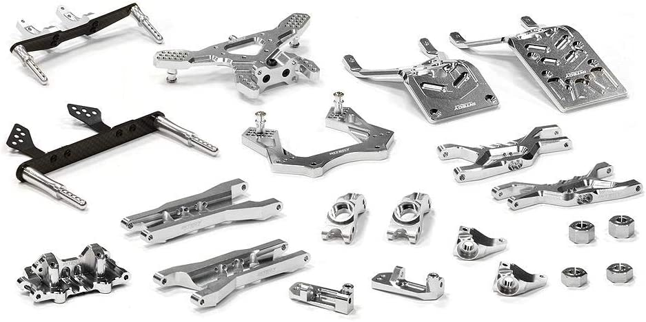 Integy RC Model Hop-ups T8651SILVER Billet Machined T3 Complete Suspension Kit for 1/10 Stampede 2WD