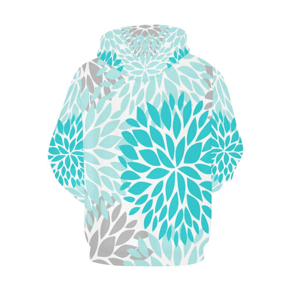 INTERESTPRINT Dahlia Pinnata Flower Turquoise Blue and Gray Long-Sleeve All Over Print Mens Hoodie