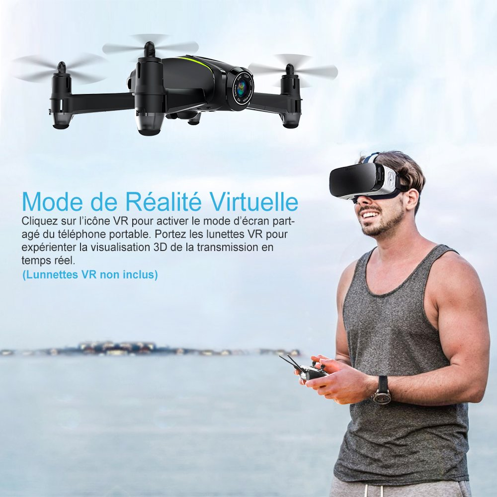 Potensic Drone avec caméra HD, U36W RC Avion 720P caméra, Mode sans Tête, Mode de Restez-Altitude, Fantastiqu Super Grand Angle à 120 degrés Cadeau de la fête(U36)
