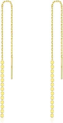 Simple Chic Earrings Modern Line Earrings 925 Sterling Silver Long Curved Bar Threader Earrings