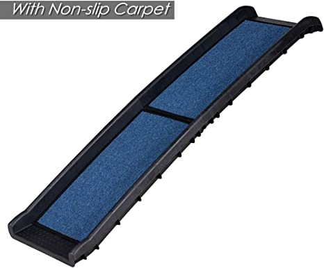 Good Life 62 Bi-fold Non-Skid Pet Ramp Non-Slip Carpet Covered Non-Slip Soft and Comfortable for Small to Large Dogs Cats Up to 150 LBS