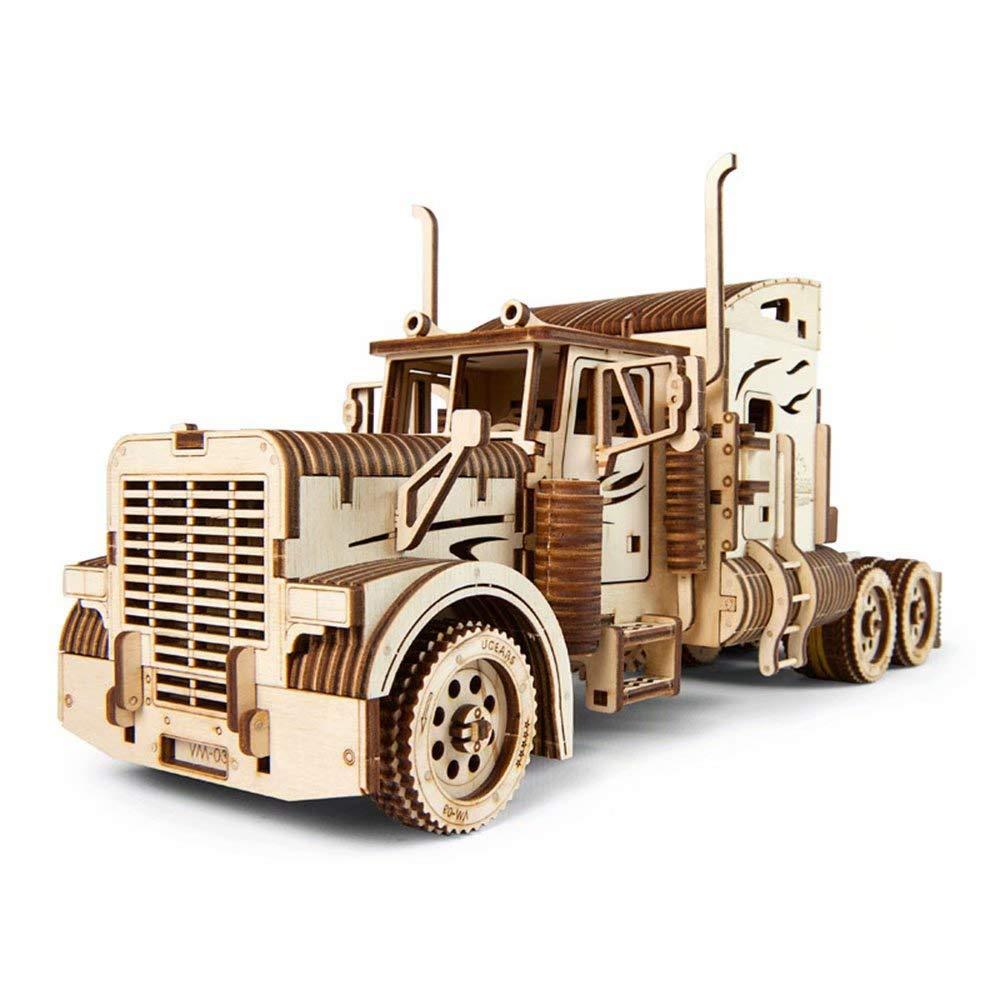 UGEARS Holz mechanisches Getriebe Modell DIY zusammengebautes Spielzeug Lange schwere Lastwagenwagen