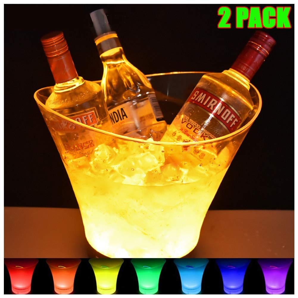 DAWNBOYE 6L Clear Wine or Champagne Bottles Ice Bucket,Bar Tools,Wine Accessories Colour Changing LED Ice Bucket,Colour Changing Ice Bucket,2 Pcs by DAWNBOYE