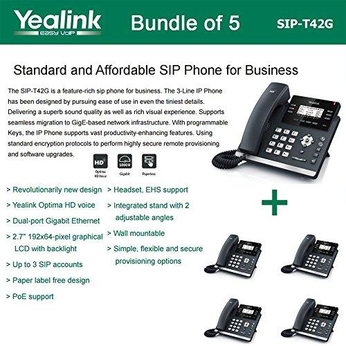 Blf Business Telephone - Yealink SIP-T42G 3-Line Ultra-Elegant Gigabit IP Phone (5-Pack)