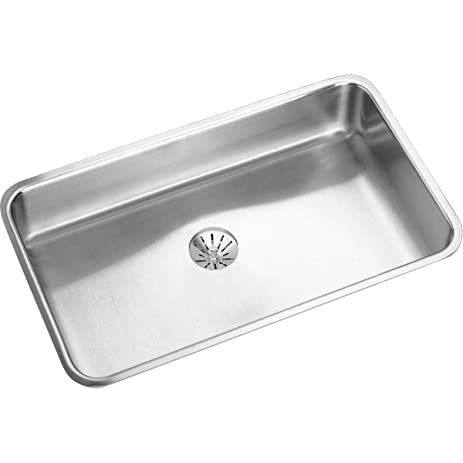 Medium image of elkay lustertone eluhad281655pd single bowl undermount stainless steel ada kitchen sink with perfect drain