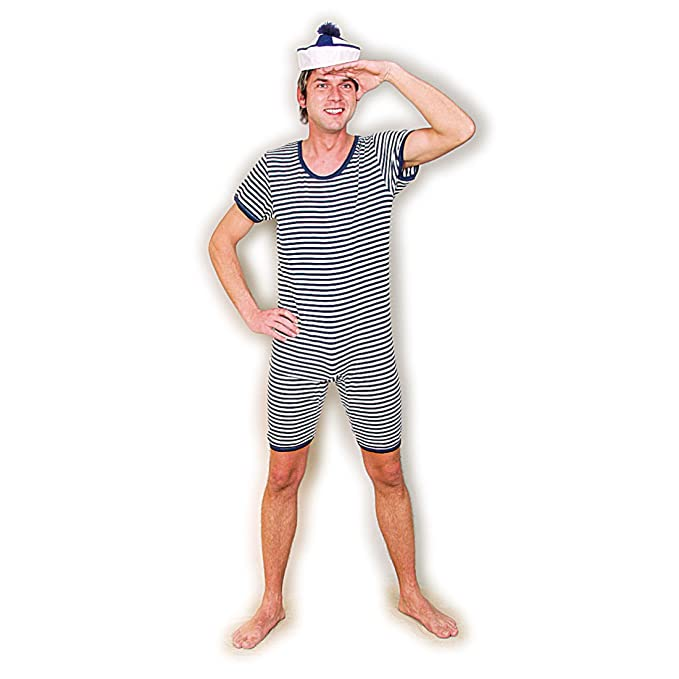 Men's Vintage Christmas Gift Ideas swimming costume men hooped Retro blue and white swimsuit XL (size 46 - 48) nostalgic swimwear man Striped bathing suit gents Circus costume weightlifter 20s 30s outfit £20.39 AT vintagedancer.com