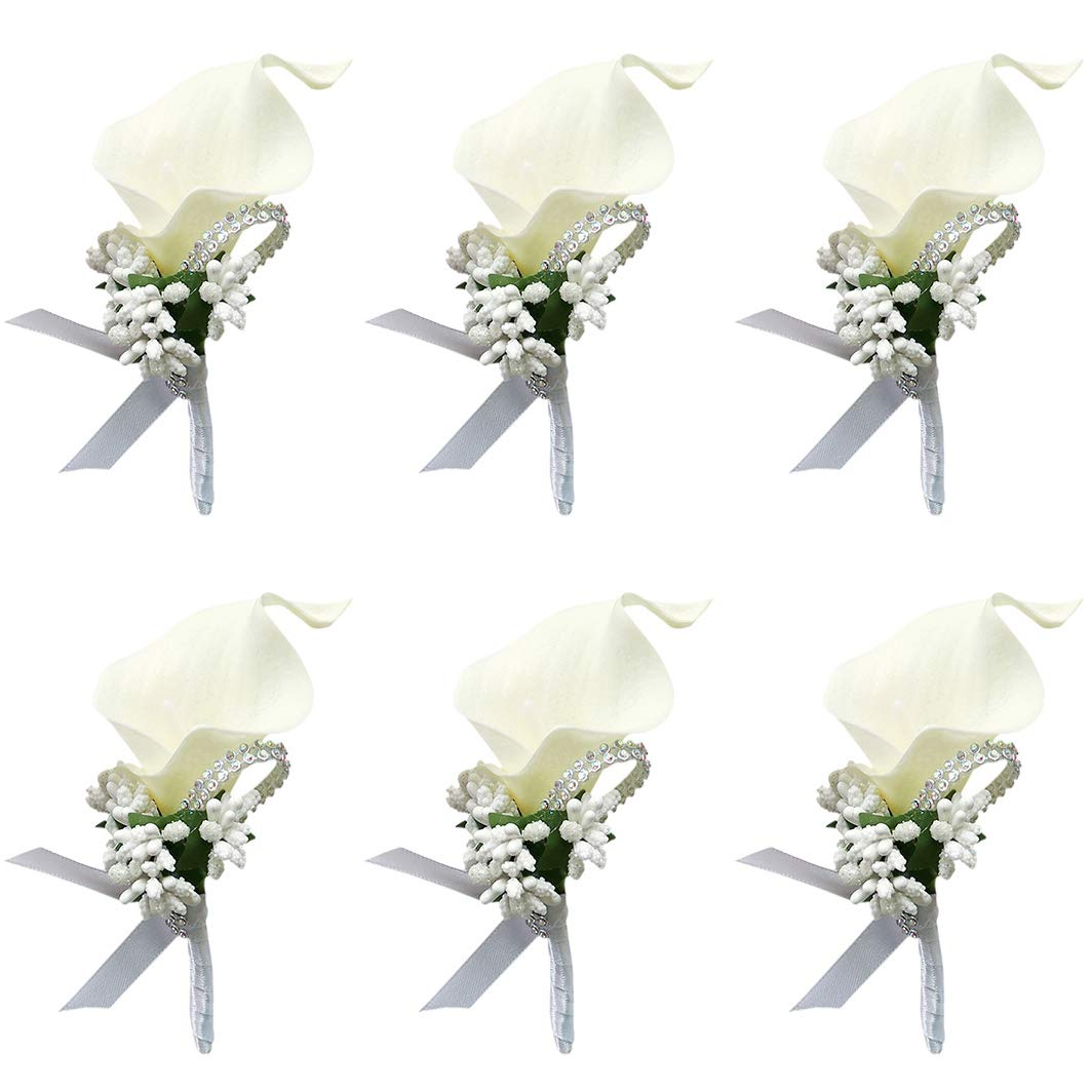 ChezMax Calla Lily White Boutonniere Handmade Silk Flower with Ribbon Corsage for Bride Groom Wedding Party by ChezMax