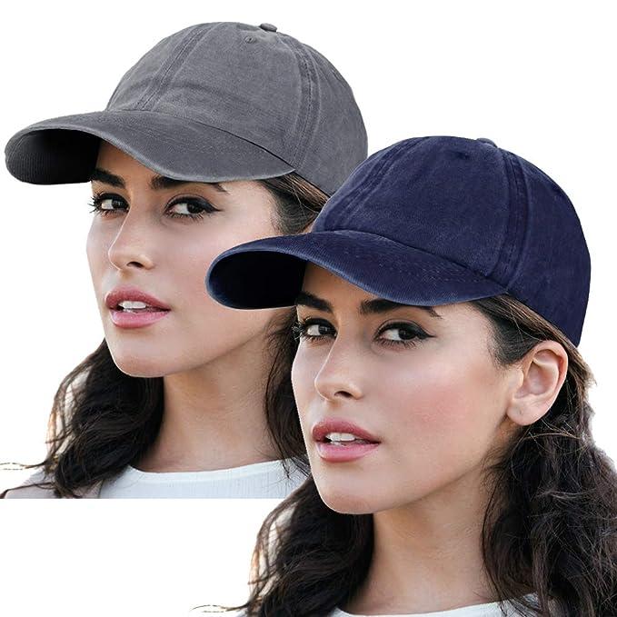5e7092fd7a8ff Vintage Baseball Cap Washed Plain Hat Adjustable Low Profile Dad-Hat Fits  Man Women 2Pack