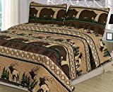 king camo quilt - King Quilt Set 3 Piece Comforter Bear Elk Log Cabin Lodge Rustic