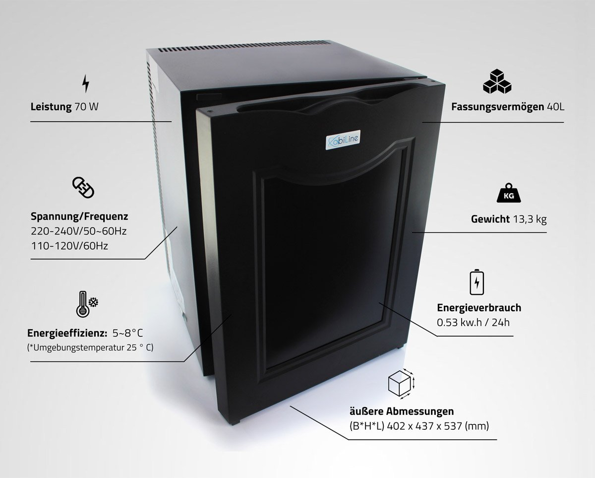 Mini Kühlschrank Energieverbrauch : Abiline 2898 mini kühlschrank 40l a minibar getränkekühlschrank