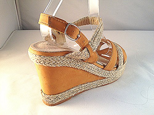 Sexy mujeres Sandalias de cuña YBL01 zapato de tacón, color beige