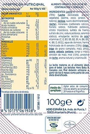 Hero Baby Bolsita 8 Cereales con Miel - 100 gr: Amazon.es: Alimentación y bebidas