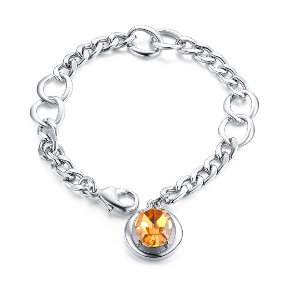 UMODE Jewelry 5 Carat Orange Austrian Rhinestone Simulated Citrine Link Charm Bracelet for Women