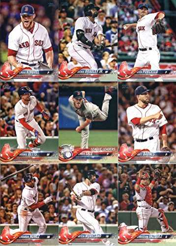 2018 Topps Complete (Series 1, 2, Update) Boston Red Sox Team Set of 32 Cards: Rafael Devers(#18), Chris Sale(#20), Eduardo Rodriguez(#43), Boston Red Sox(#48), Eduardo Nunez(#76), Christian Vazquez(#103), Mitch Moreland(#104), Chris Sale(#129), Mookie Bet