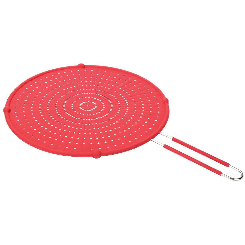 YORLFE Silicone Splatter Screen - High Heat Resistant Pan Cover/Strainer/Cooling Mat/Drain Board, Protects From Hot Oil Splash For Cooking & Frying(Stay-Cool Handle,Black, 13
