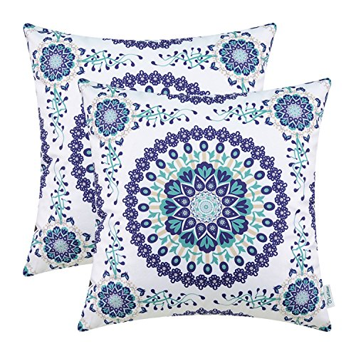 CaliTime Pack of 2 Cozy Fleece Throw Pillow Cases Covers for Couch Bed Sofa Fantasy Compass Floral Print 18 X 18 Inches Main Navy Blue (Couch Floral Print)