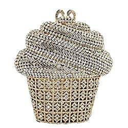 Ice-cream Cup Shaped Metal Clutch With Stones