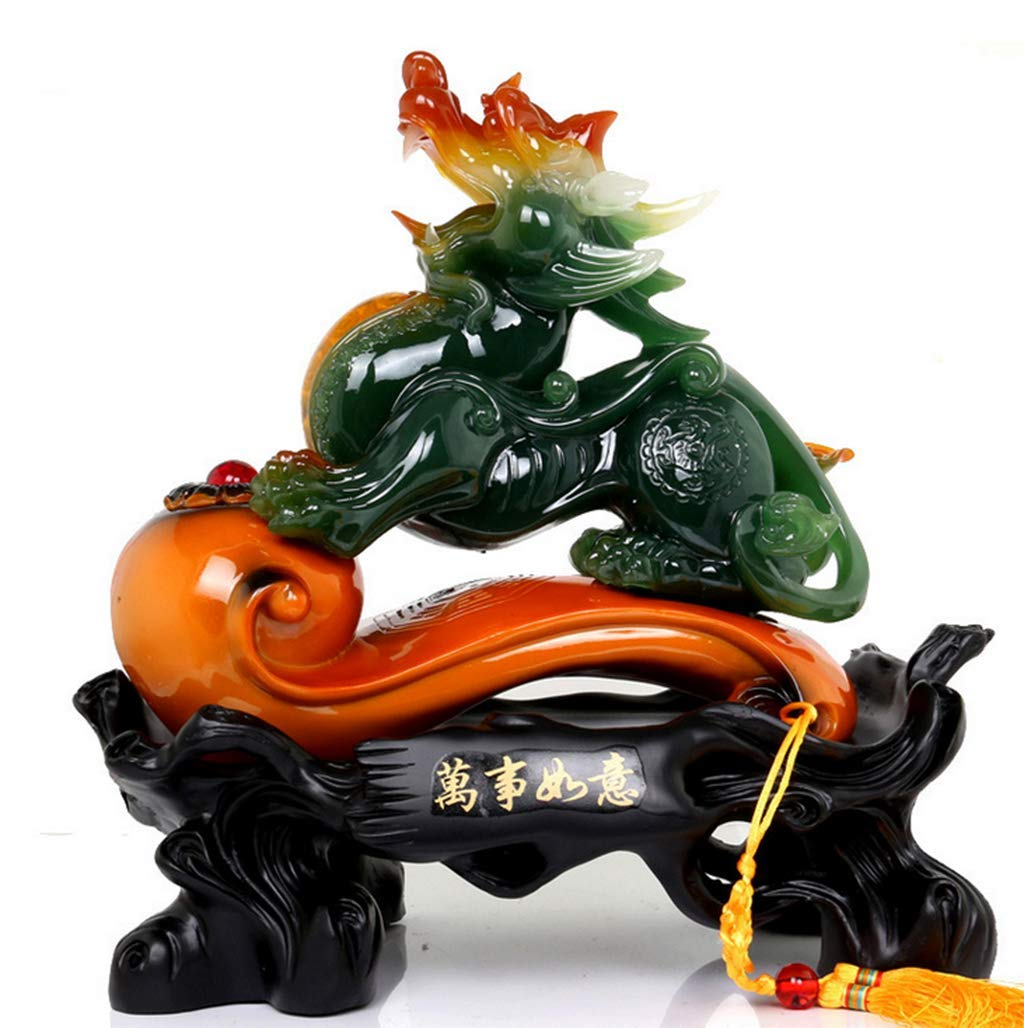 CFJKN Feng Shui Decor, Wealth Prosperity Green Pi Xiu/Pi Yao StatuesLucky Fortune Wealth Attract Wealth and Good Luck Best Gift,Lucky_38x19x38cm