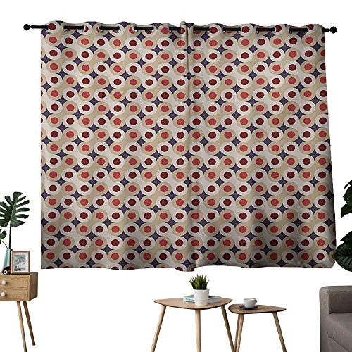 (NUOMANAN Curtains Geometric,Abstract Disc Shaped Circle Motif Round Retro Wrench Art Deco Inspired Mosaic,Multicolor,Complete Darkness, Noise Reducing Curtain 42