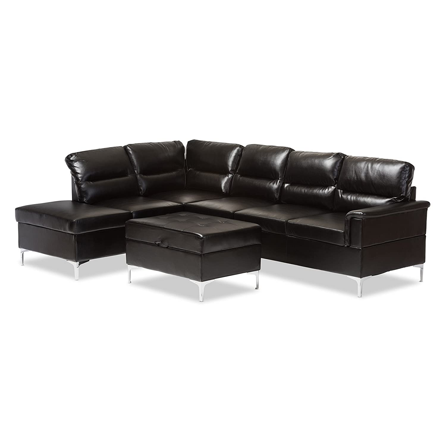 Amazon Baxton Studio Kinsley 2 Piece Sectional in Black