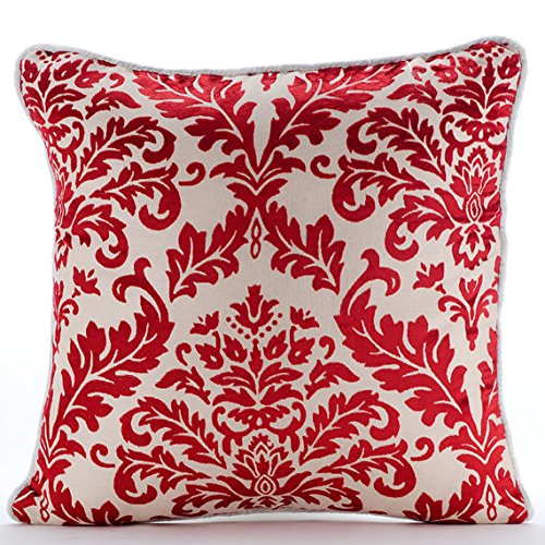 """Designer Cayenne Red Euro Shams Covers, 26""""x26"""" Euro Pillow,"""