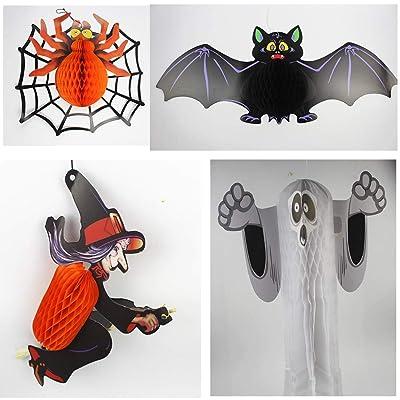 Yuahwyehe 4 Piezas Decoraciones Colgantes de Halloween murciélagos arañas Fantasma Color Mago para Suministros de Fiesta de Halloween: Deportes y aire libre
