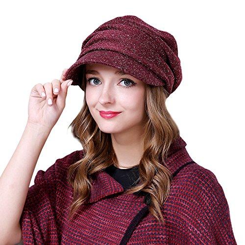 WE&ZHE Femme Bérets Polyester Pliez la mode Voyage Tide Garder au chaud en automne et en hiver rouge profond