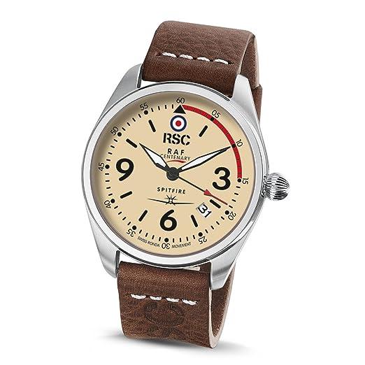 RSC Relojes De Piloto Hombres Análogo De Cuarzo Reloj con Cuero Pulsera Spitfire rsc1942: Amazon.es: Relojes