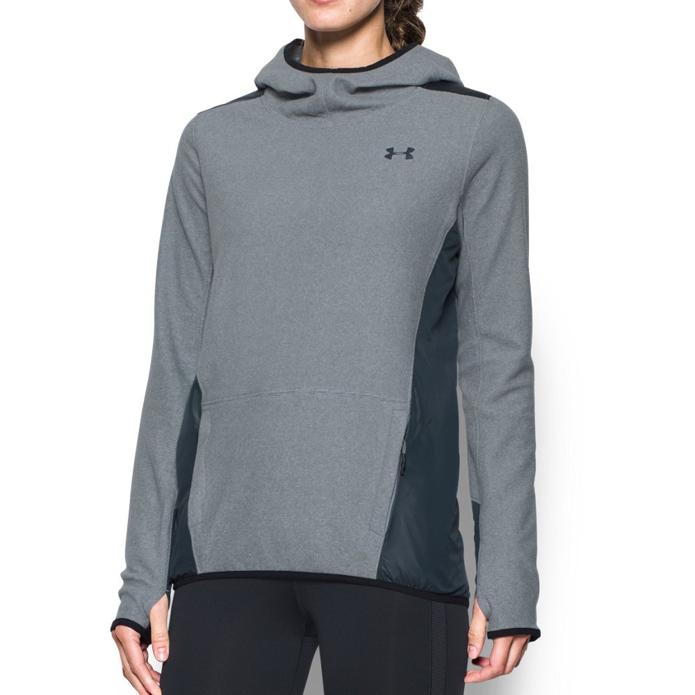 Under Armour Women's ColdGear Infrared Popover Hoodie, Steel/Stealth Gray, Large