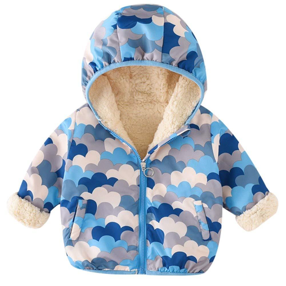 Baby Boys Girls Hooded Down Jacket Coat Warm Fleece Coat Outdoor Windproof Zipper Puffer Outerwear