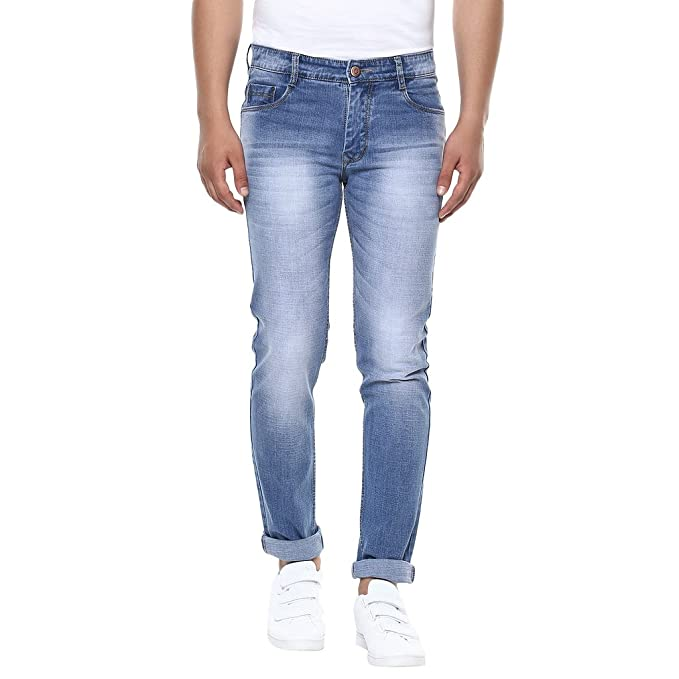 81d133284b1 BUKKL Men s Denim Stretchable Slim Fit Jeans  Amazon.in  Clothing ...