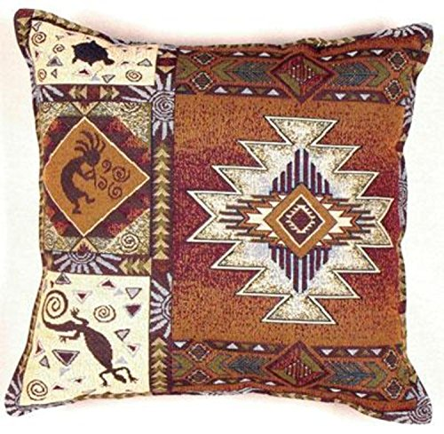 Kokopelli Southwestern Decorative Tapestry Toss Pillow
