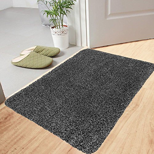 Large Indoor Super Absorbs Mud Doormat 36''x24'' Latex Backing Non Slip Door Mat for Front Door Inside Floor Dirt Trapper Mats Cotton Entrance Rug Shoes Scraper Machine Washable Carpet Black White Fiber by BEAU JARDIN
